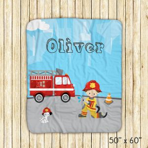 Firefighter Boy Girl Fire Truck Blanket