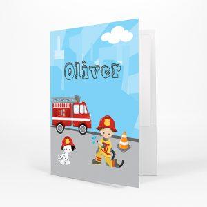 Firefighter Boy Girl Fire Truck Folder
