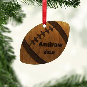 Football Ball Shape Wooden Ornament
