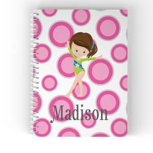 Gymnastic Girl Pink Polka Dot Notebook