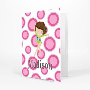 Gymnastic Girl Pink Polka Dots Folder