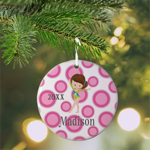 Gymnastic Girl Pink Dot Ceramic Ornament