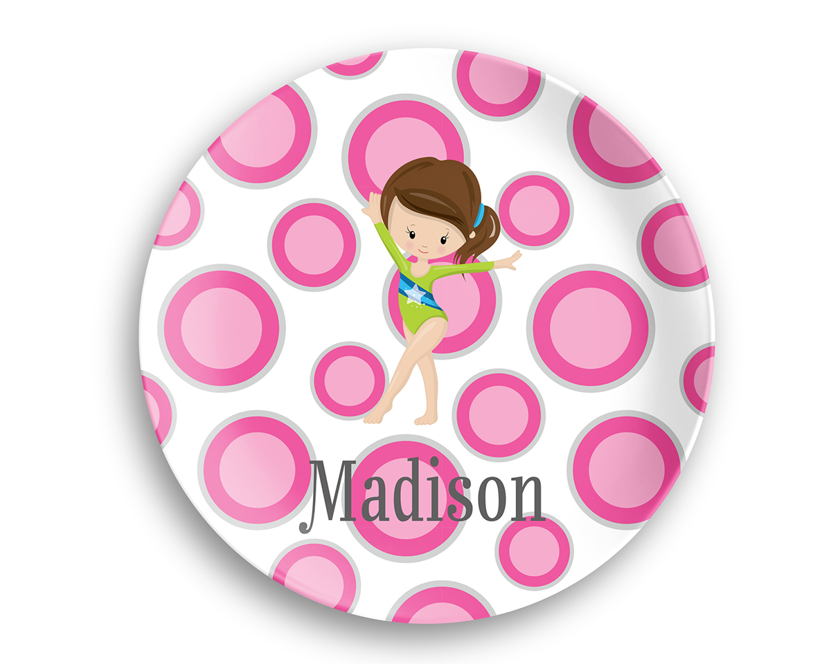 Gymnastic Girl Dots Green Suit Plate