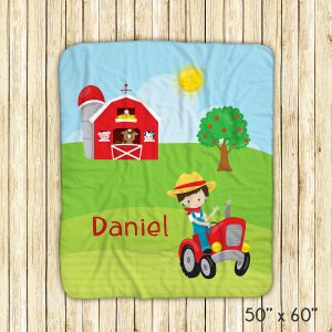 Happy Farm Boy Girl Barn Blanket