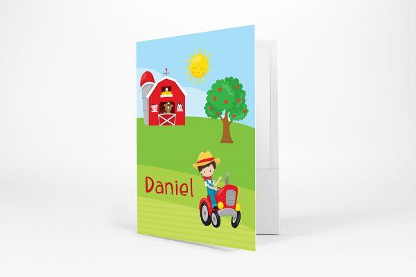 Happy Farm Boy Girl Barn Folder