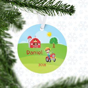 Happy Farm Boy Girl Barn Metal Ornament