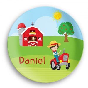Happy Farm Boy Girl Barn Tractor Plate