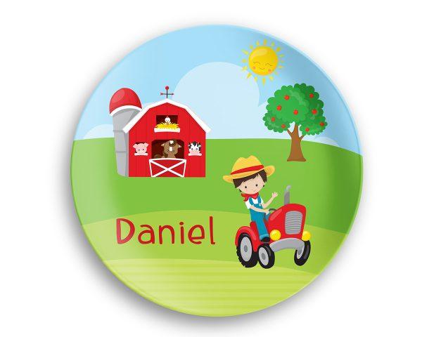 Happy Farm Boy Girl Barn Tractor Plate