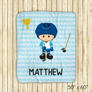 Hockey Player Boy Blue Stripe Blanket
