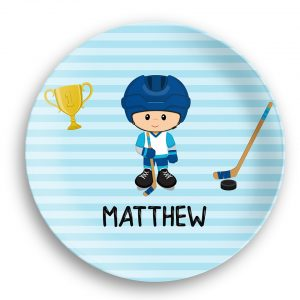 Hockey Player Boy Blue Stripes Plate