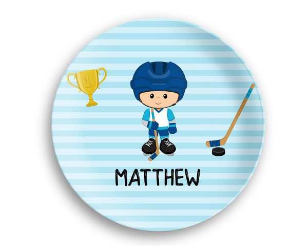 Hockey Player Boy Blue Stripes Plate