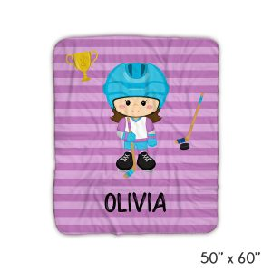 Hockey Player Girl Purple Stripes Blanket