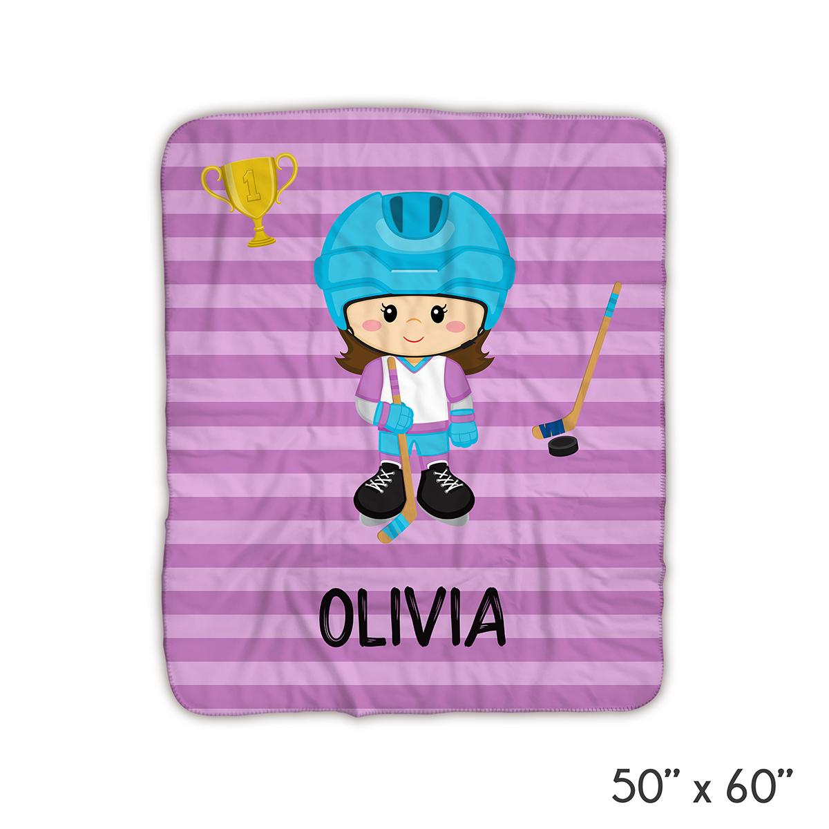 Hockey Player Girl Purple Stripes Blanket