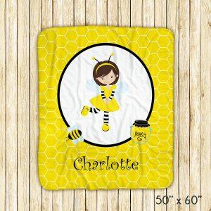 Honey Bee Girl Yellow Blanket