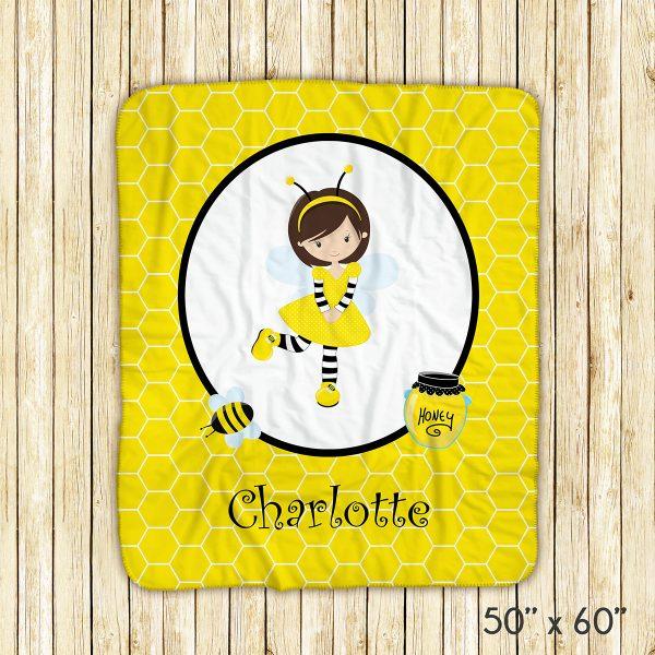 Honey Bee Girl Yellow Blanket