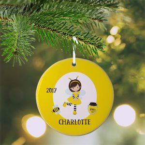Honey Bee Girl Yellow Ceramic Ornament