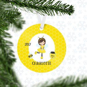 Honey Bee Girl Honey Comb Metal Ornament