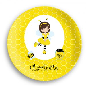 Honey Bee Girl Honey Comb Plate