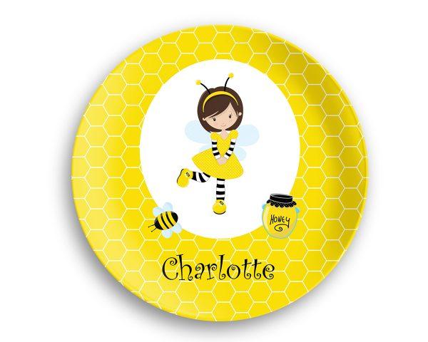 Honey Bee Girl Honey Comb Plate