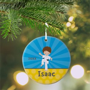Karate Kid Boy Blue Rays Ceramic Ornament