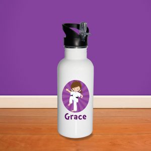 Karate Kid Girl Knee Raised Water Bottle
