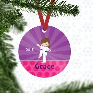 Karate Kid Girl Purple Rays Metal Ornament