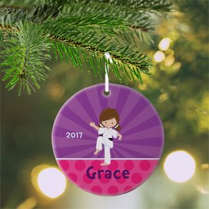 Karate Kid Girl Purple Ceramic Ornament
