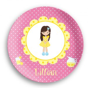 Lemonade Stand Girl Yellow Flower Plate