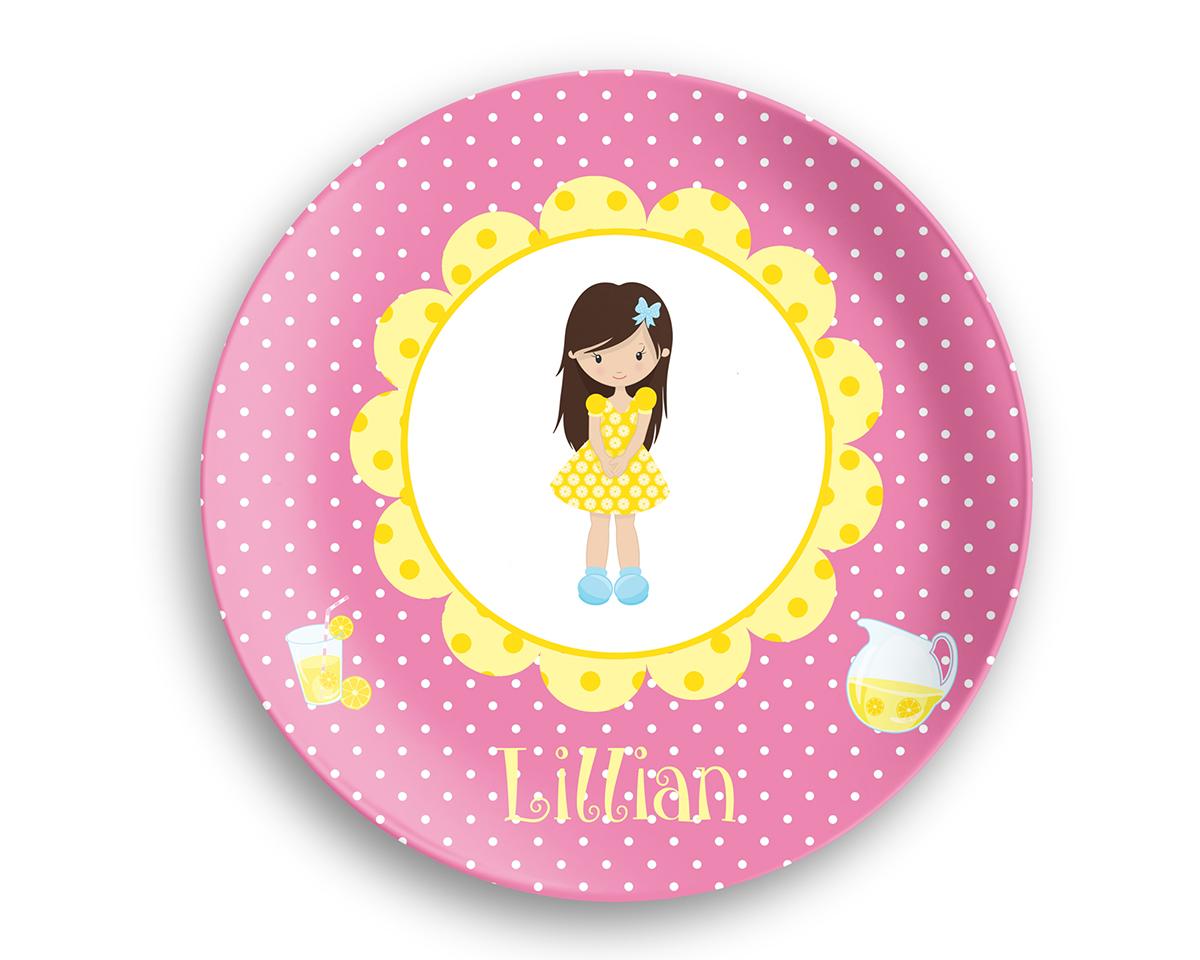 Lemonade Stand Girl Yellow Flower Plate