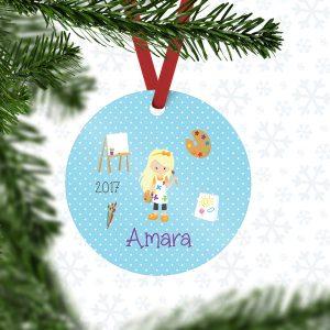 Little Artist Boy Girl Polka Dot Metal Ornament