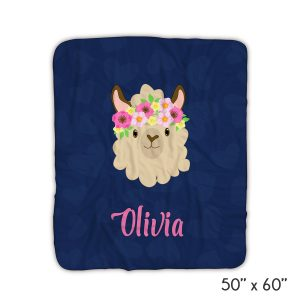 llama-funny-face-navy-hearts-blanket-personalized-gifts