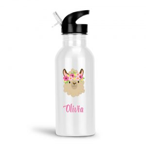 Llama Funny Face Water Bottle