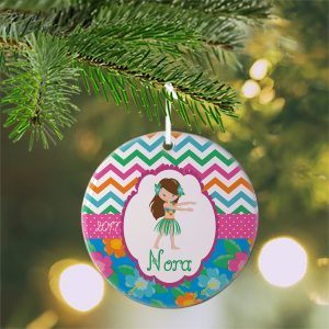 Luau Party Girl Chevron Ceramic Ornament