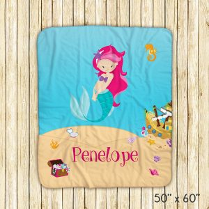 Mermaid Sea Floor Shells Blanket