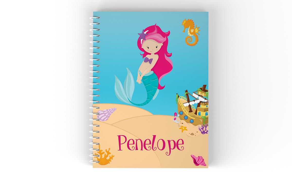 Mermaid Sea Floor Shells Ship Notebook