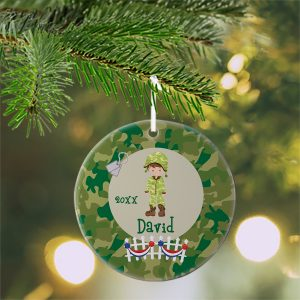 Military Boy Girl Camo Ceramic Ornament