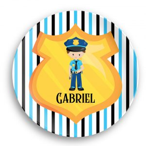 Police Boy Girl Shield Blue Stripes Plate