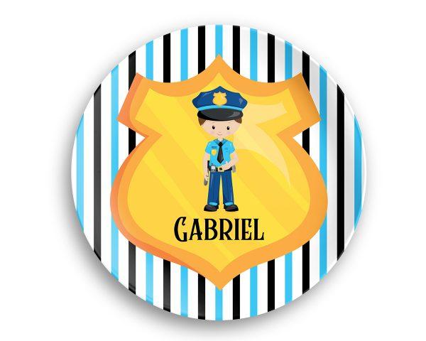 Police Boy Girl Shield Blue Stripes Plate