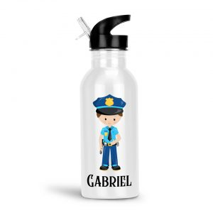 Police Boy Girl Water Bottle