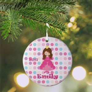 Princess Dark Pink Dress Ceramic Ornament