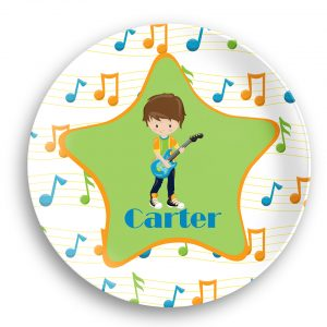 Rock Star Boy Musical Notes Plate
