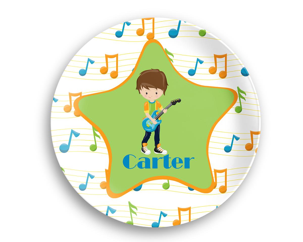 Rock Star Boy Musical Notes Plate