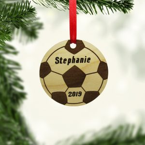 Soccer Ball Circle Wooden Ornament