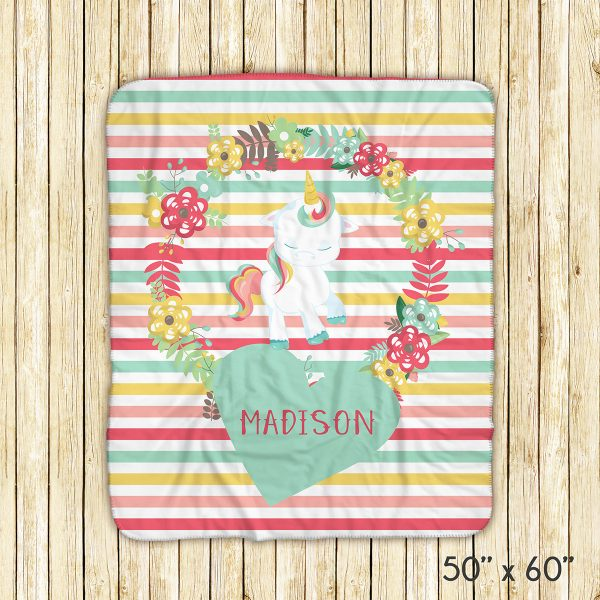 Unicorn Floral Green Heart Blanket