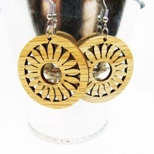 Circle Petal Flower Wood Earrings
