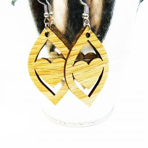 Petal Heart Cutout Wood Earrings