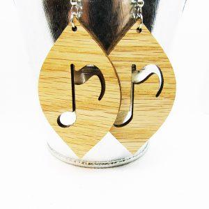 Petal Music Note Wood Earrings