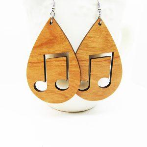 Teardrop Music Notes Cutout Wood Earrings