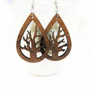 Teardrop Cutout Tree Wood Earrings