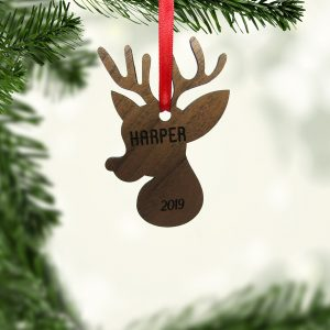 Reindeer Head Wood Ornament